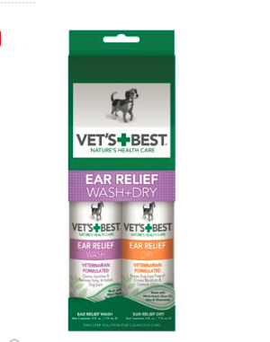 Vet's Best Ear Relief Wash + Dry Combo Pack for Dogs, 2-pack - Chewy.com
