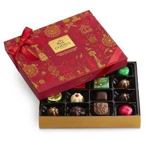 Godiva第2件5折,折后$17.48什锦巧克力节日礼盒 16颗