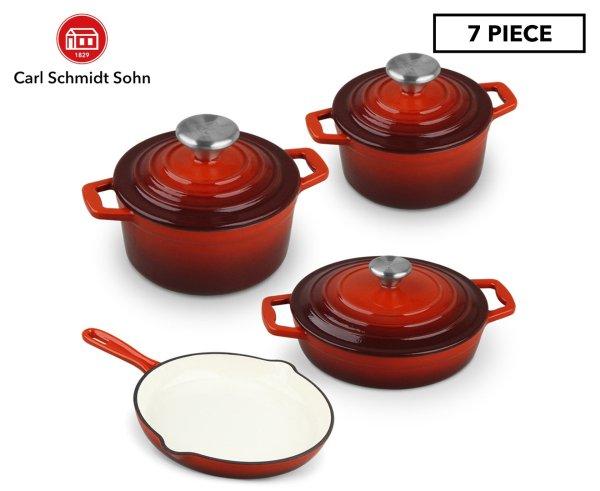 7-Piece 铸铁锅套装 - Red