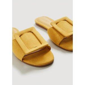 Mango晒货同款方扣拖鞋