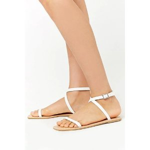Faux Leather Ankle-Strap Sandals