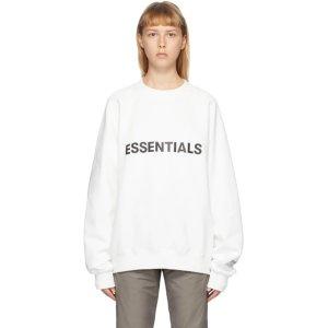 Essentials请多刷!随时补货!白色logo卫衣