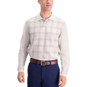 HaggarWindowpane Long Sleeve Knit Polo Shirt