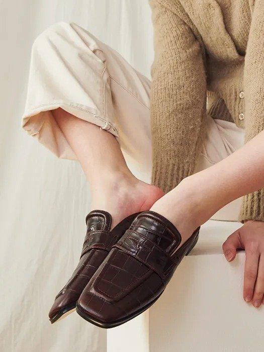 INTHESTAR 鳄鱼皮压纹乐福穆勒鞋