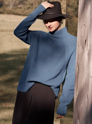 Ribbed funnel-neck sweater   Contemporaine