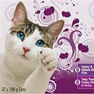 $18.97 平均每罐仅$0.59Friskies 猫咪火鸡罐头 156g×32罐超值装 毛孩子最爱
