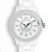Dior VIII 系列珍珠母贝镶钻机械白陶瓷女表