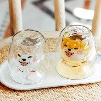 萌萌狗狗双层玻璃杯