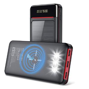 $39.19包邮(原价$55.99)Aikove 大容量太阳能无线充电宝 26800mAh 内置LED照明灯