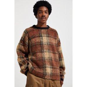 UO Brushed Tartan Crew Neck Sweater