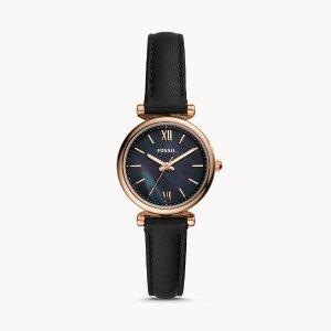 FossilCarlie Mini Three-Hand Black Leather Watch