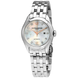 EXTRA $25 OFFBaume et Mercier Clifton Mother of Pearl Diamond Automatic Ladies Watch A10151