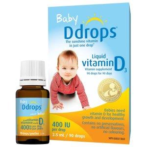 低至$9.87Ddrops Vitamin D3 滴剂  助力宝宝对钙的吸收