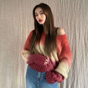 StylenandaGradient Cable Knit Sweater