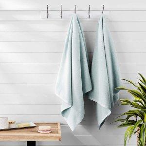 $10.99AmazonBasics 纯棉快干大浴巾 2条 冰蓝色