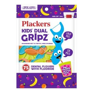Plackers Kids Dental Floss Picks, Fruit Smoothie Swirl with Fluoride & Dual Grip, 75 Count