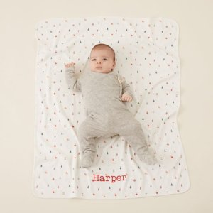 My 1st YearsPersonalized Christmas Print Organic Jersey Blanket Welcome %1