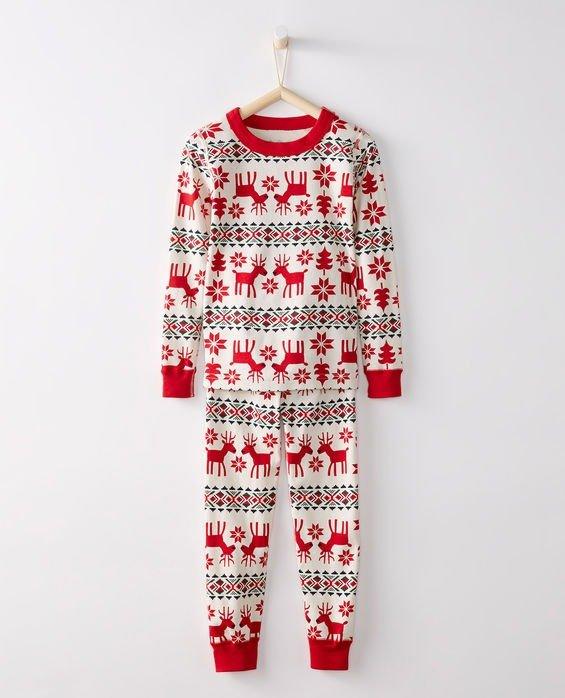 驯鹿图案有机棉长袖睡衣