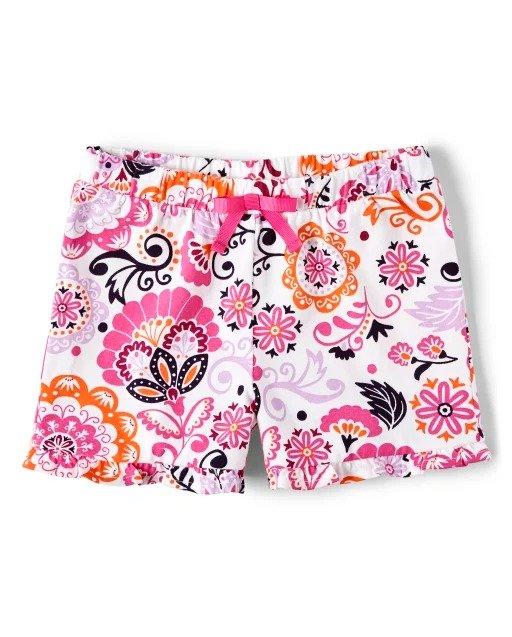 女童花朵印花短裤