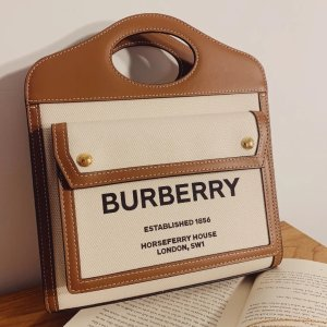 Burberry帆布+皮革材质中号口袋包