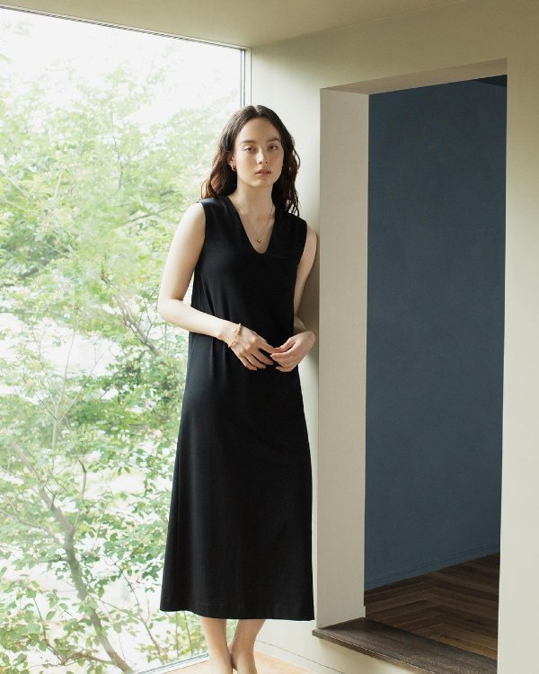 Damen Mame Kurogouchi Armelloses AIRism Baumwoll BH-Kleid