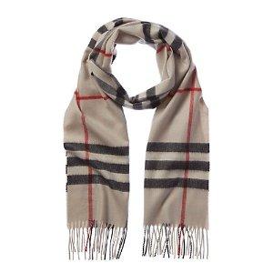 Burberry经典复古格纹羊绒围巾