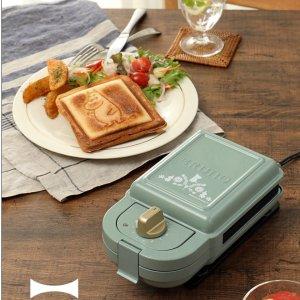 直邮美国到手价$99.6Moomin限量款 Bruno 早餐三明治机 单人款 2个烤盘 套装