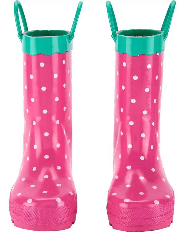 儿童草莓雨靴
