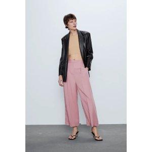 Zara垂坠感很好烟粉色阔腿裤