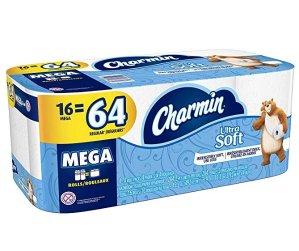 $16.96(原价$25.19) 1个顶4个Charmin Ultra Soft 三层卫生纸16卷装 云朵般柔软