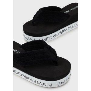 Emporio ArmaniFlip Flops With Wedge Heels And Logo Soles for Women | Emporio Armani