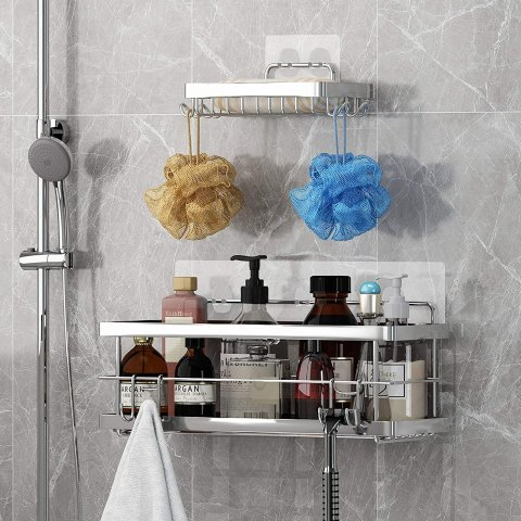 KESOL Shower Caddy and Soap Dish with Hooks for Hanging Sponge and Razor