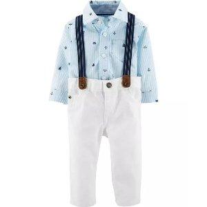 婴儿衬衫背带裤3件套