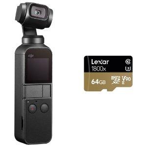 $469.99(原价$519.99)DJI 大疆 Osmo Pocket云台相机 + Lexar 雷克沙 64GB 内存卡