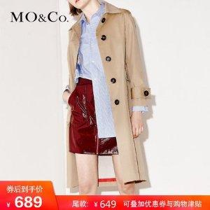Mo&Co./摩安珂MOCO 翻领中长款大口袋后开衩直筒风衣外套女