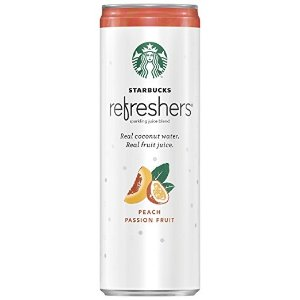 StarbucksRefreshers Sparkling Juice Blends, Peach Passion Fruit with Coconut Water, 12 Ounce, 12 Cans