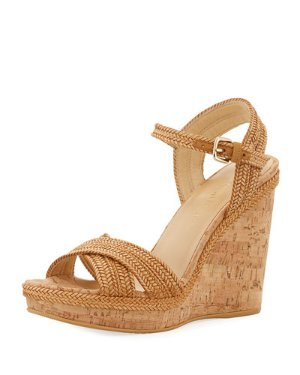 Stuart Weitzman Minx Woven Cork Wedge Sandals