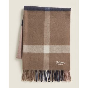 MulberryLarge Check Wool Scarf