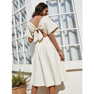 SHEINTie Back Batwing Sleeve A-line Dress