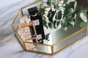 Decorative Tray ,Vintage Glass Jewelry Tray with Mirrored Bottom Vanity Organizer