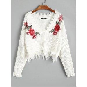 V领玫瑰刺绣毛衣