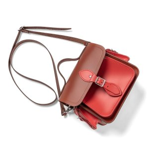 Traveller Bag with Side Pockets in Leather - Russet & Spice