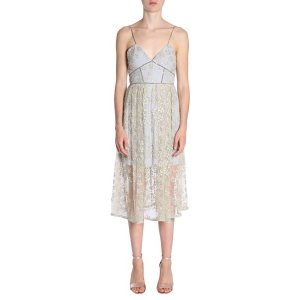 Self-PortraitFLORAL EMBROIDERED TULLE MIDI DRESS