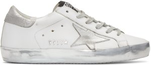 Golden Goose: White & Silver Superstar Sneakers | SSENSE