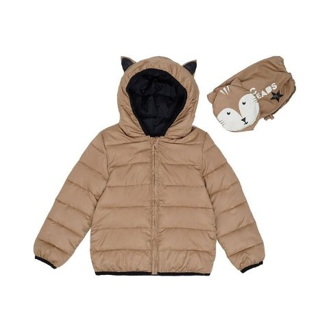 Little Boys Fox Hooded Full Zip Packable Jacket with Matching Bag