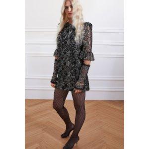H&M黑色蕾丝亮片裙