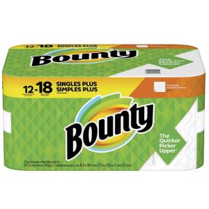 $14.98(原价$19.56)Bounty 厨房纸12大卷 相当于普通18卷 2倍强吸水