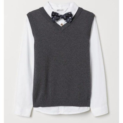 男童衬衫+毛衣套装