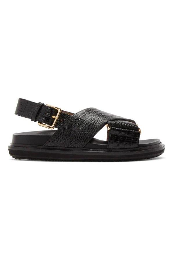 蛇皮纹理凉鞋