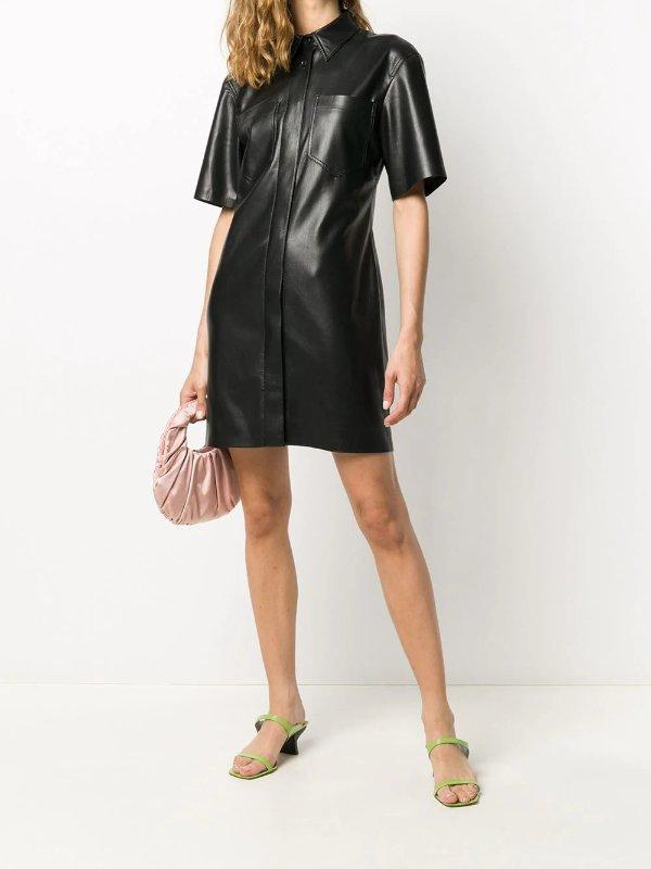 环保皮质衬衫裙